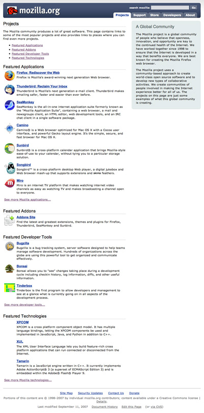 Mockup of a new Project main page for mozilla.org