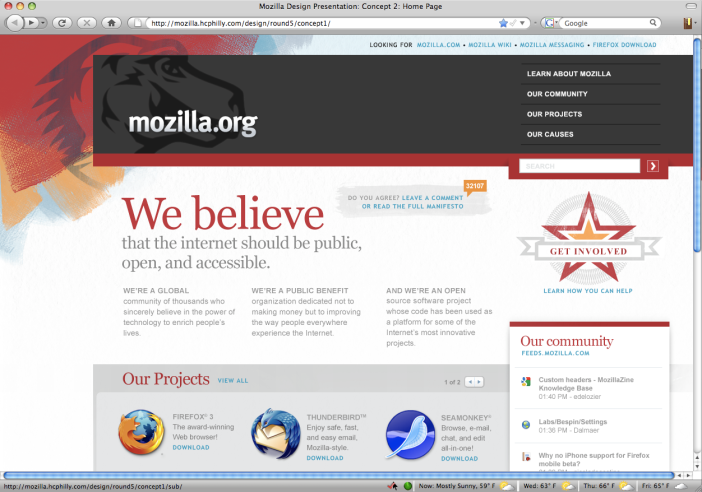 Design for www.mozilla.org