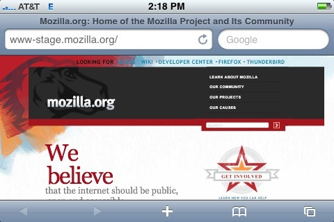 New www.mozilla.org design on iPhone